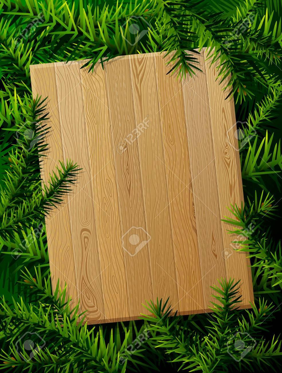 Planche En Bois Blanc Contre Des Branches De Pin Mod Le De No L