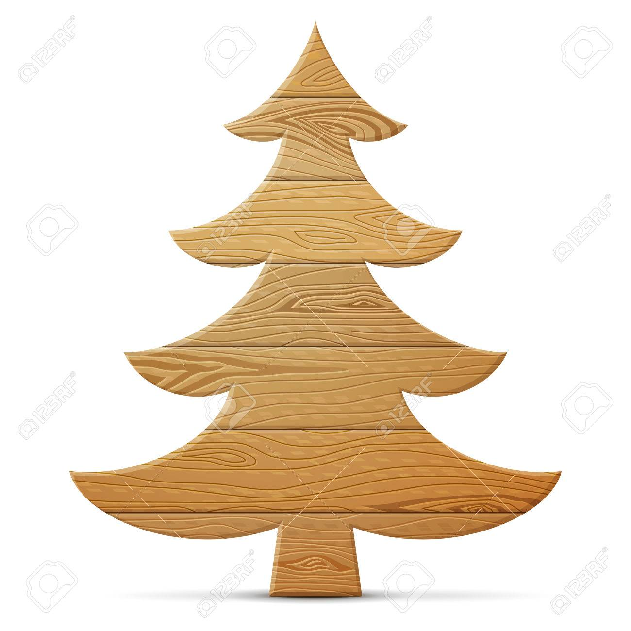 acbfd2e368d0a Christmas tree of wood isolated on white background. Wooden planks in shape  of pine.