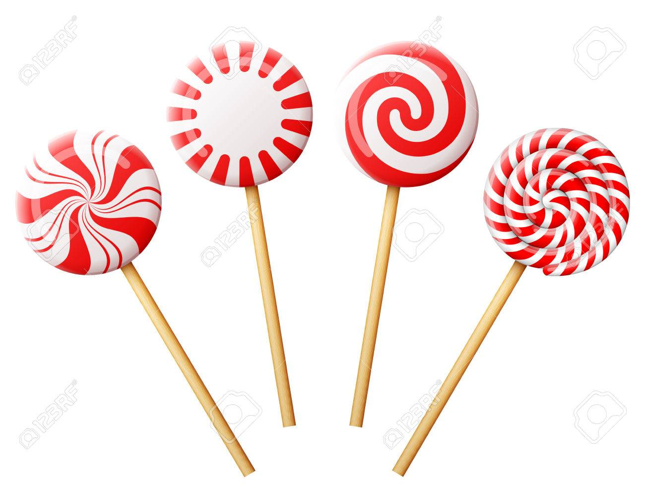 Christmas Candy.Set Of Christmas Candy On Wooden Stick Striped Peppermint Lollipops