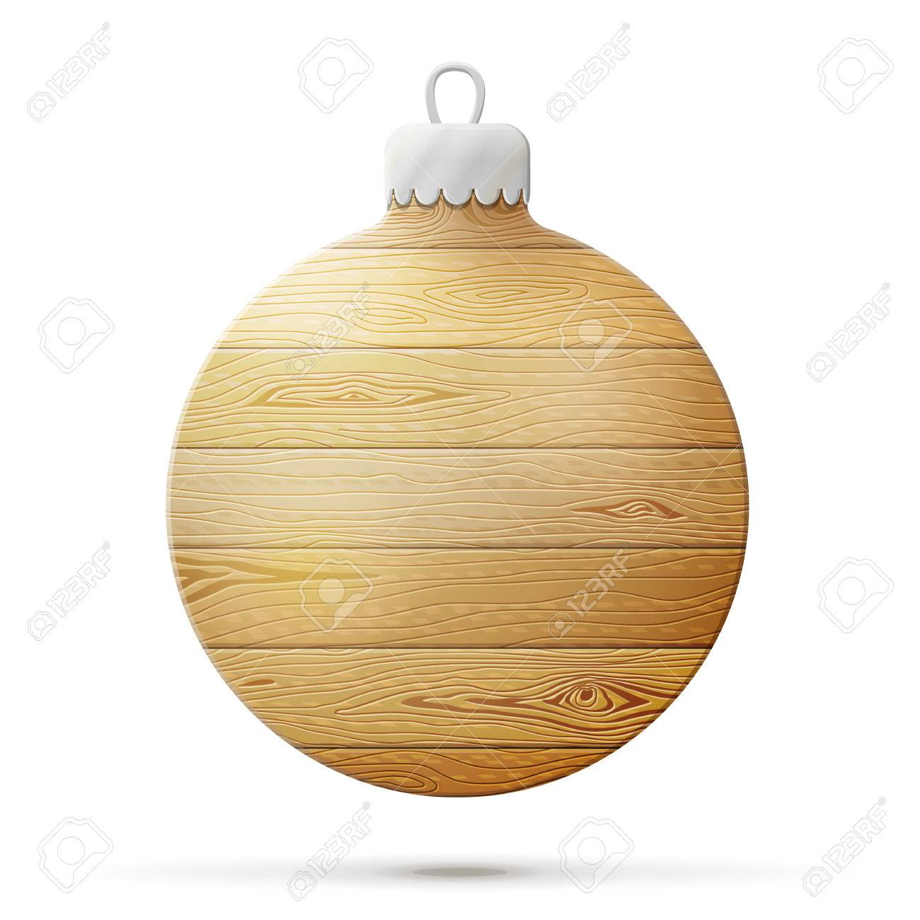 53cece8f6d6b0 Holiday bauble of wood isolated on white. Wooden planks in shape of  christmas tree ball