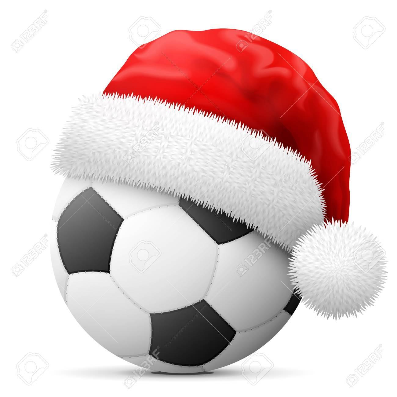 Immagini Cappello Di Babbo Natale.Pallone Da Calcio In Rosso Cappello Di Babbo Natale Natale Cappello E Messo Su Palla Calcio Illustrazione Vettoriale Per Natale Il Calcio