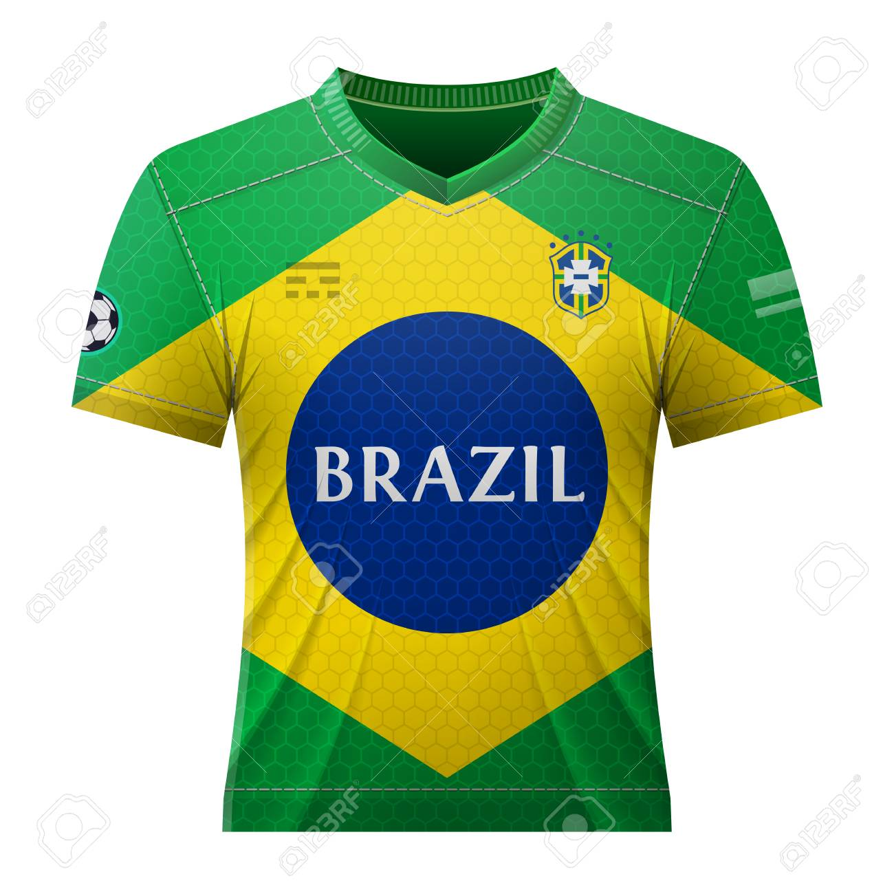 Soccer shirt in colors of brazilian flag. National jersey for football team  of Brazil. e094aab83