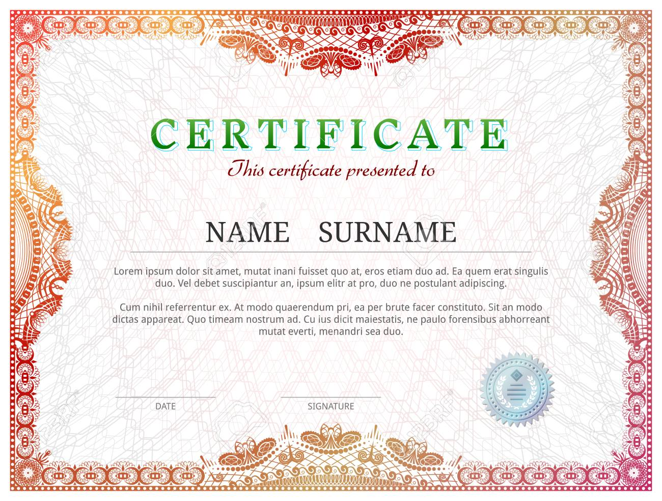 diploma border  Certificate Template With Guilloche Elements. Red Diploma Border ...