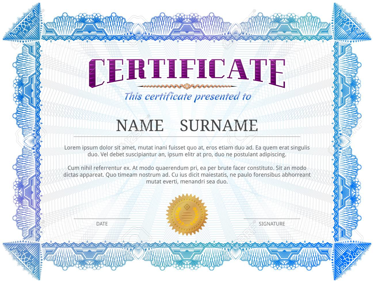 Certificate template with guilloche elements blue diploma border certificate template with guilloche elements blue diploma border design for personal conferment vector image yadclub Gallery