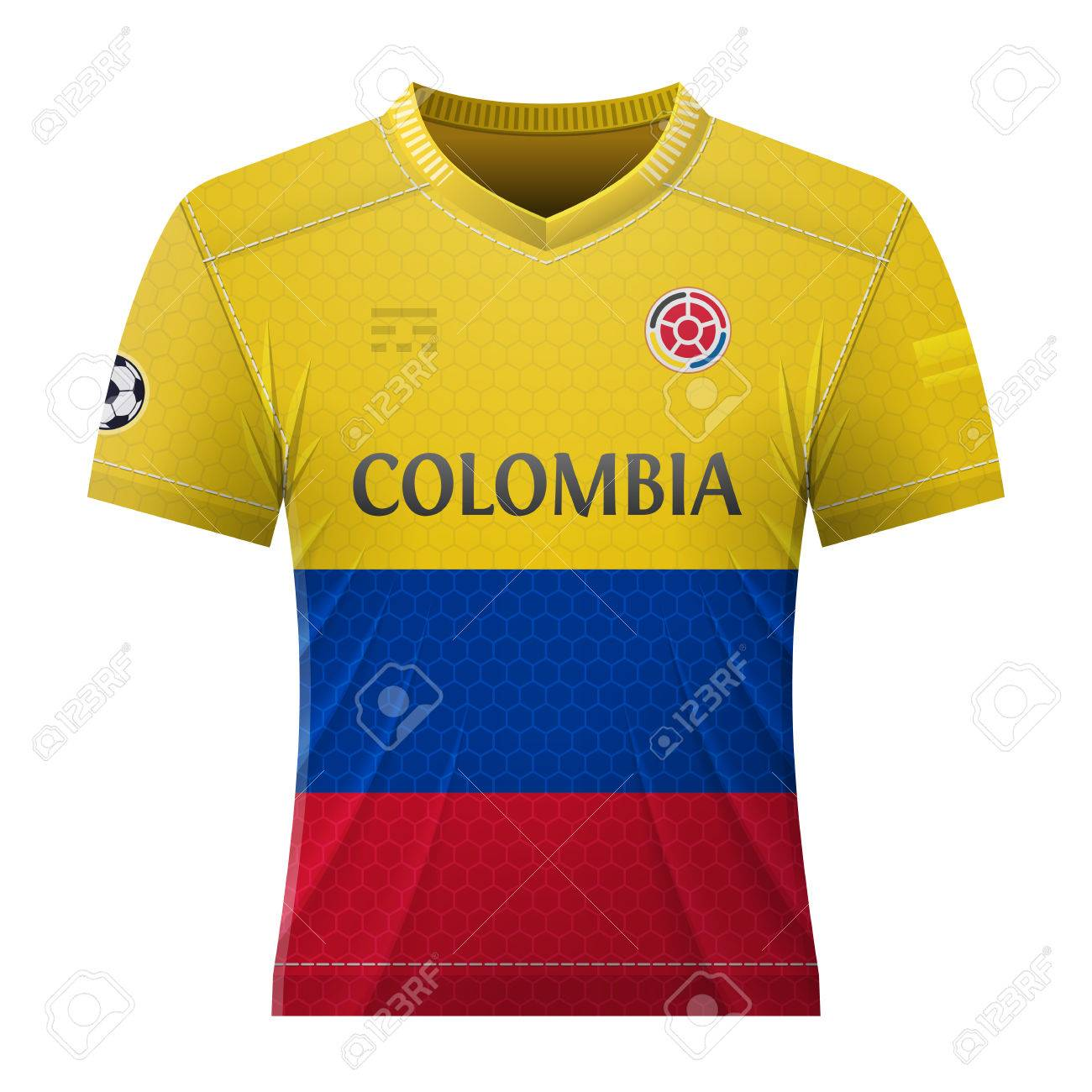 Soccer shirt in colors of colombian flag. National jersey for football team  of Colombia. 3a69d1337
