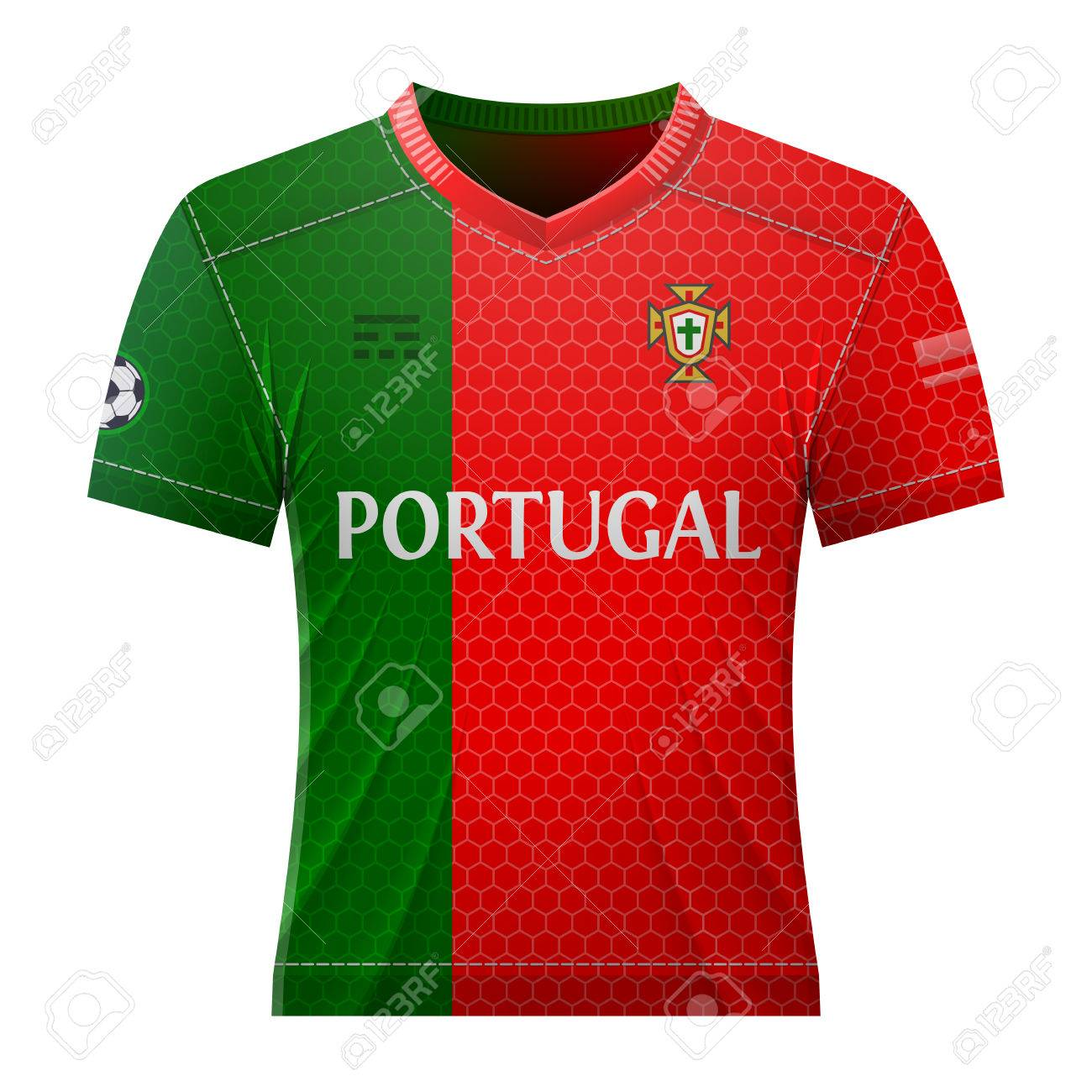 299823793 Soccer shirt in colors of portuguese flag. National jersey for football team  of Portugal.
