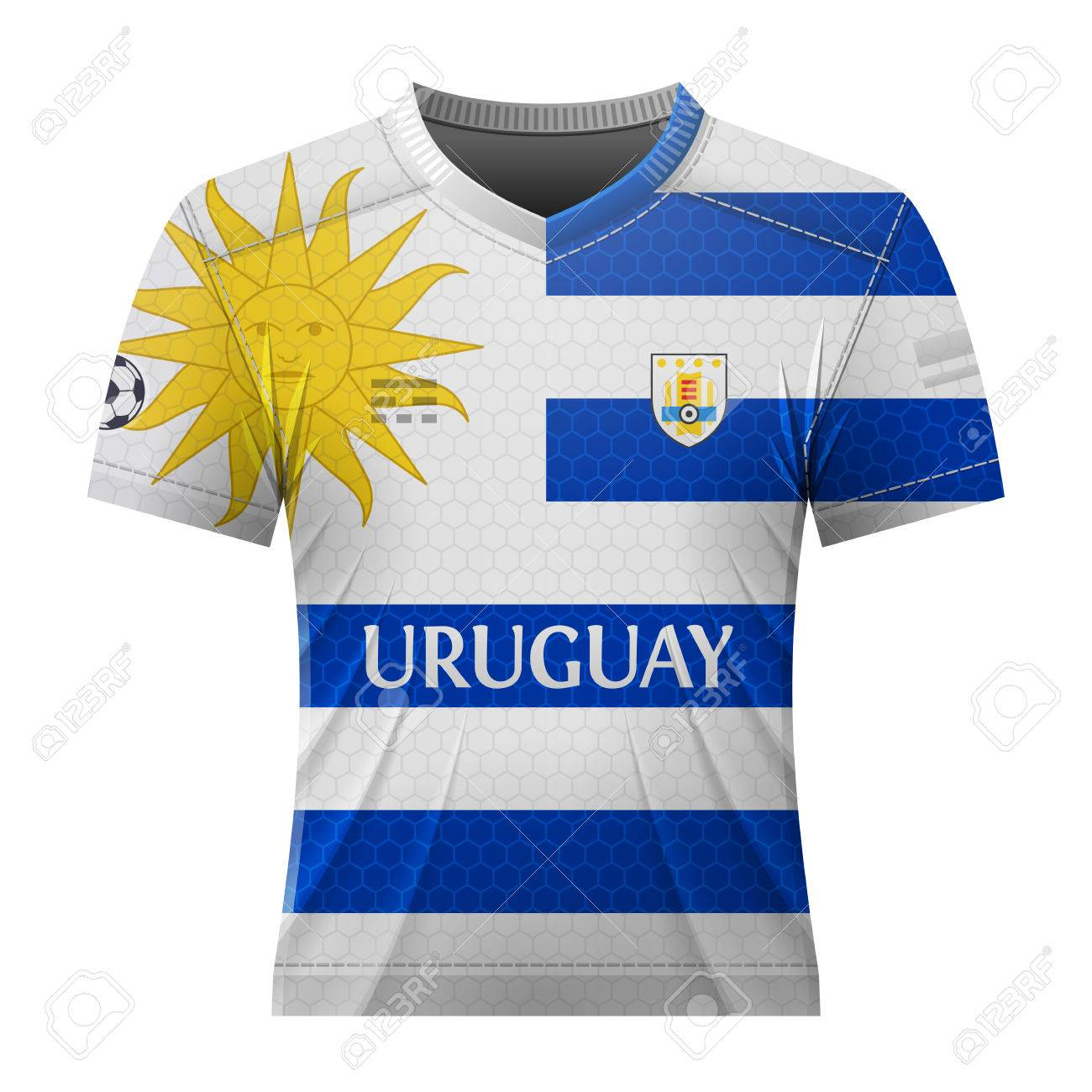 Soccer shirt in colors of uruguayan flag. National jersey for football team  of Uruguay. 9a605c2a7