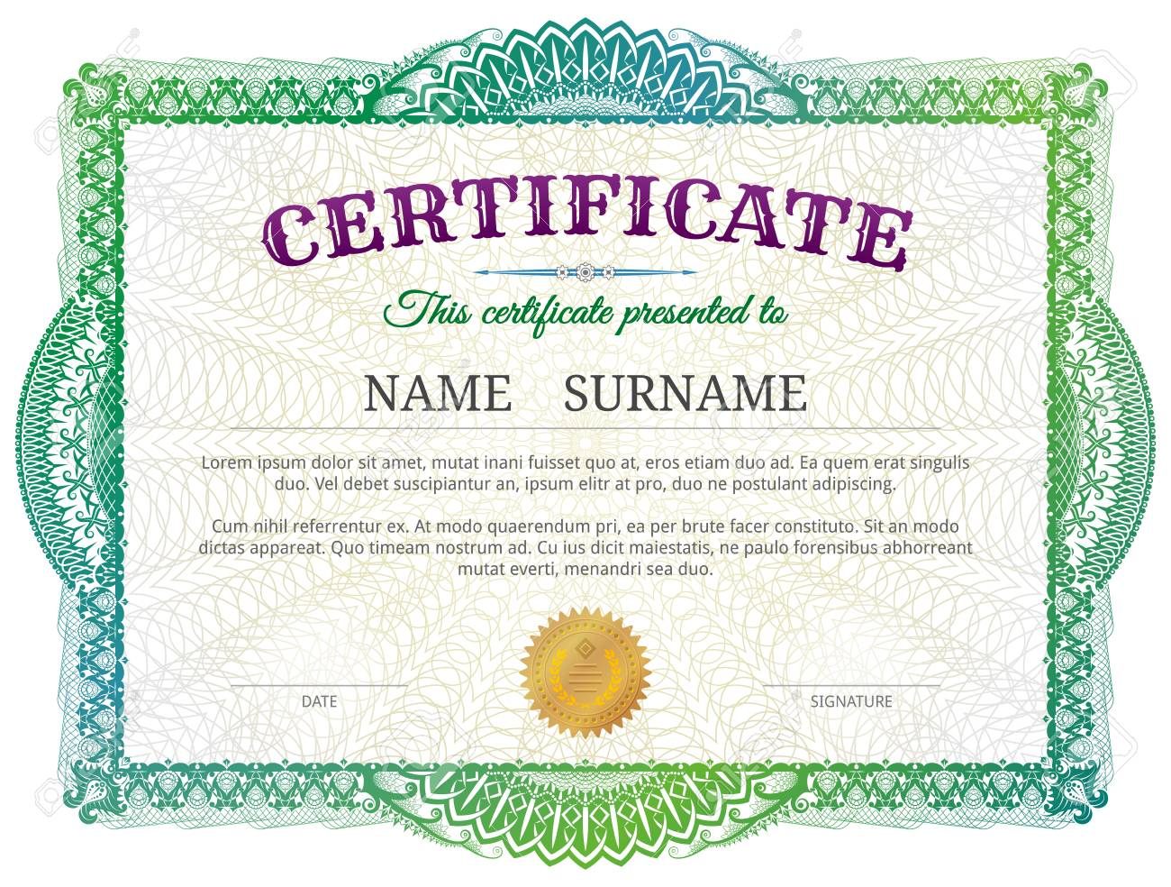 Certificate template with guilloche elements green diploma border certificate template with guilloche elements green diploma border design for personal conferment best vector yadclub Image collections