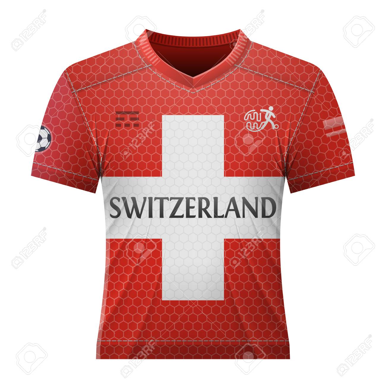 huge discount 829fd 96c41 Soccer shirt in colors of swiss flag. National jersey for football..