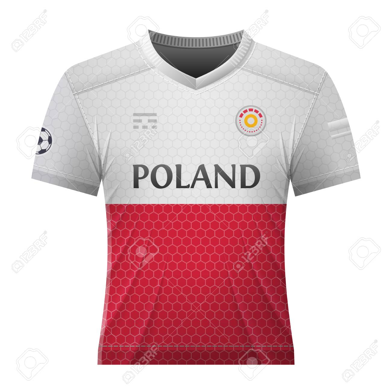 timeless design fbe7f 255cd Soccer shirt in colors of polish flag. National jersey for football..