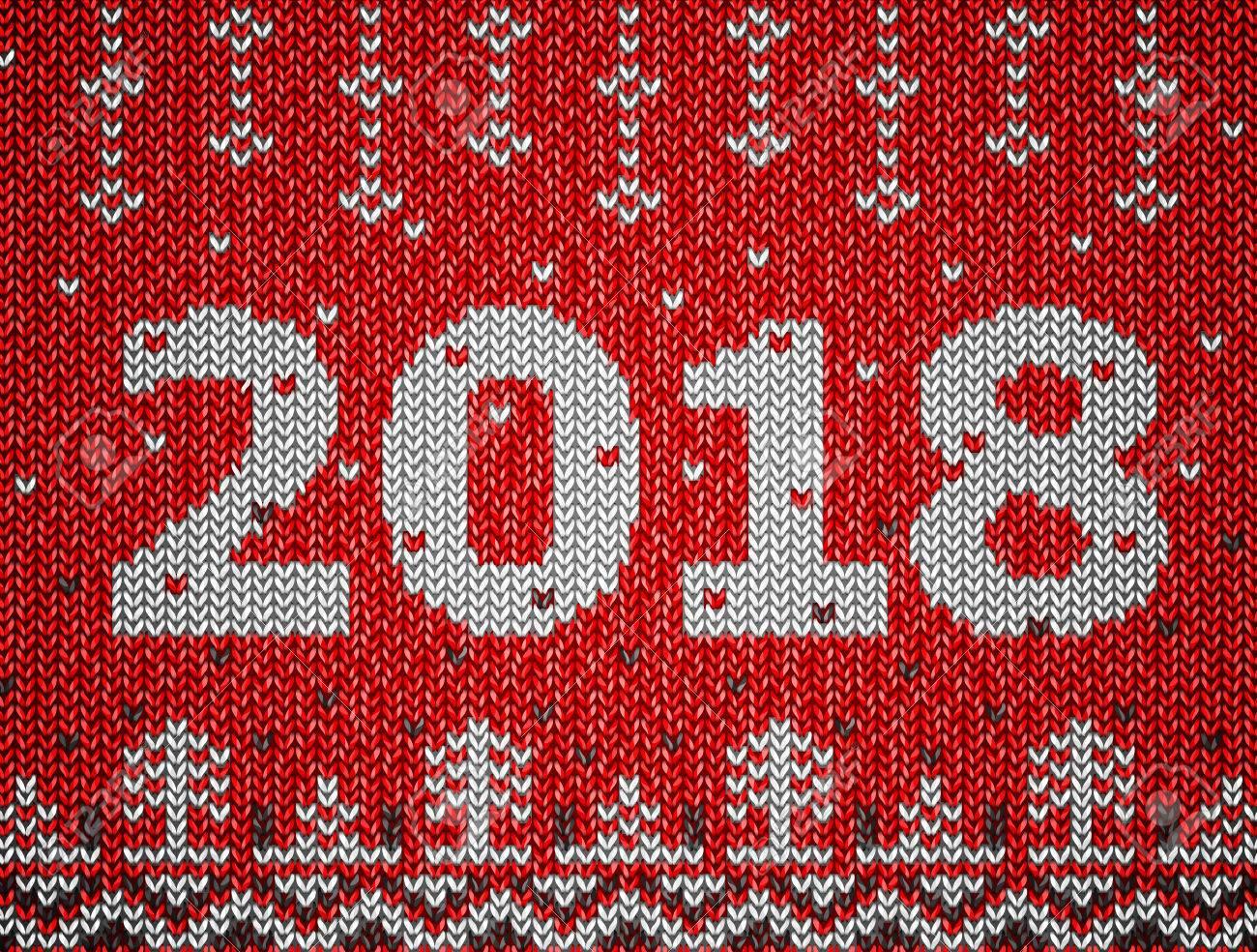 Tarjeta Del Año Nuevo 2018 Con Textura De Punto. Fragmento De Puente ...