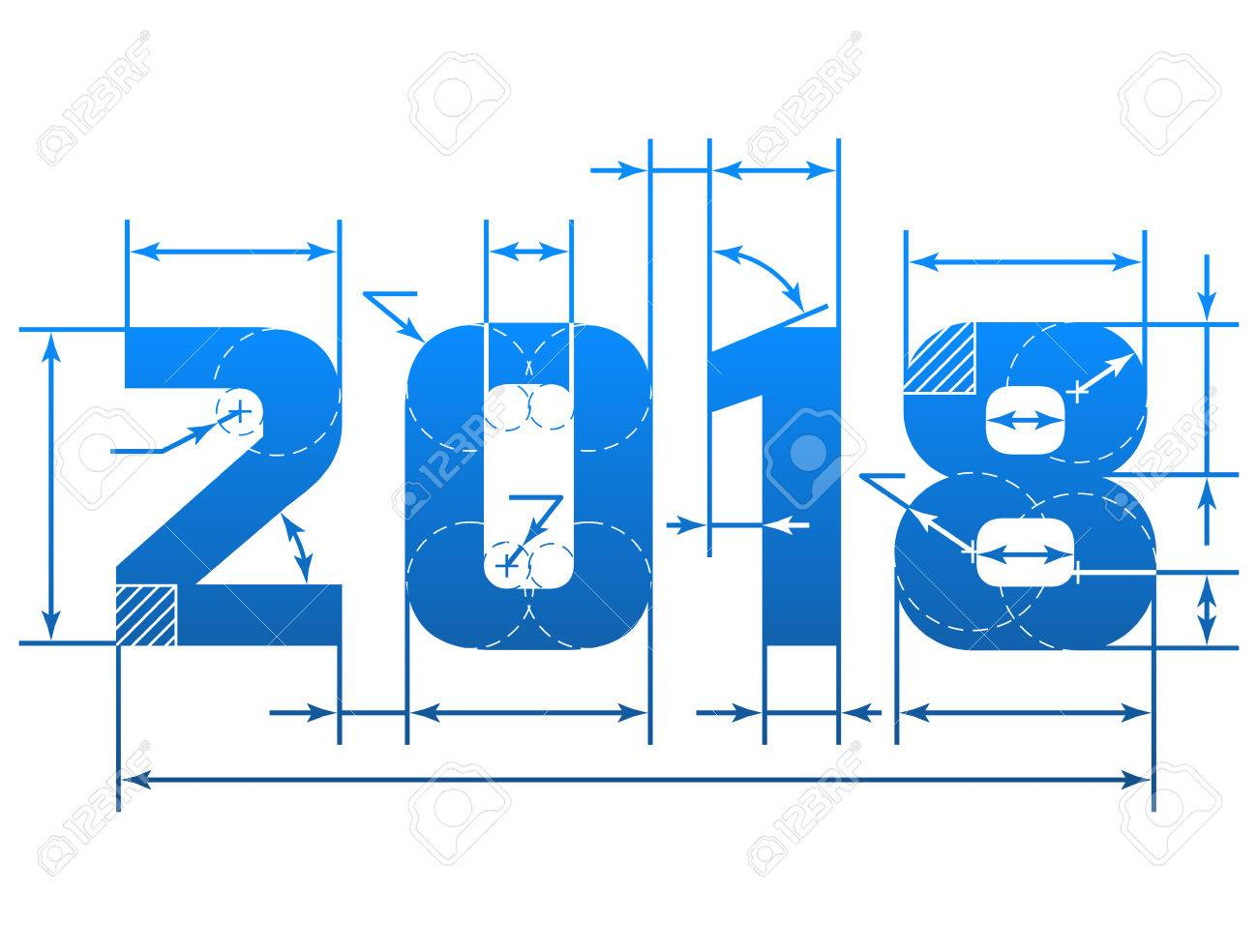 New year 2018 number with dimension lines element of blueprint new year 2018 number with dimension lines element of blueprint drawing in shape of 2018 malvernweather Image collections