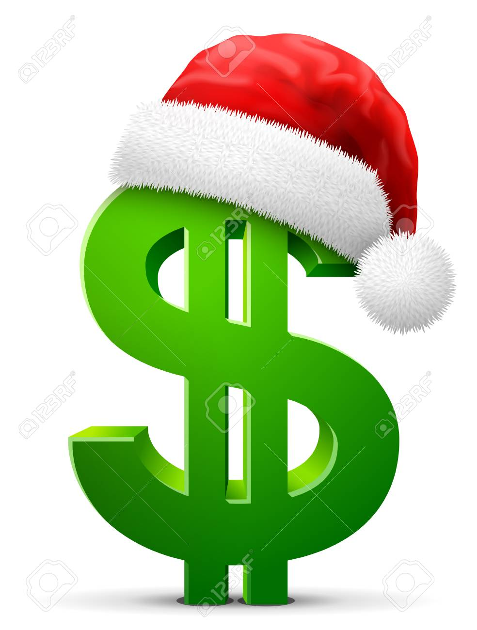 Dollar Symbol In Red Santa Claus Hat Christmas Hat Is Put On Royalty Free Cliparts Vectors And Stock Illustration Image 86527077