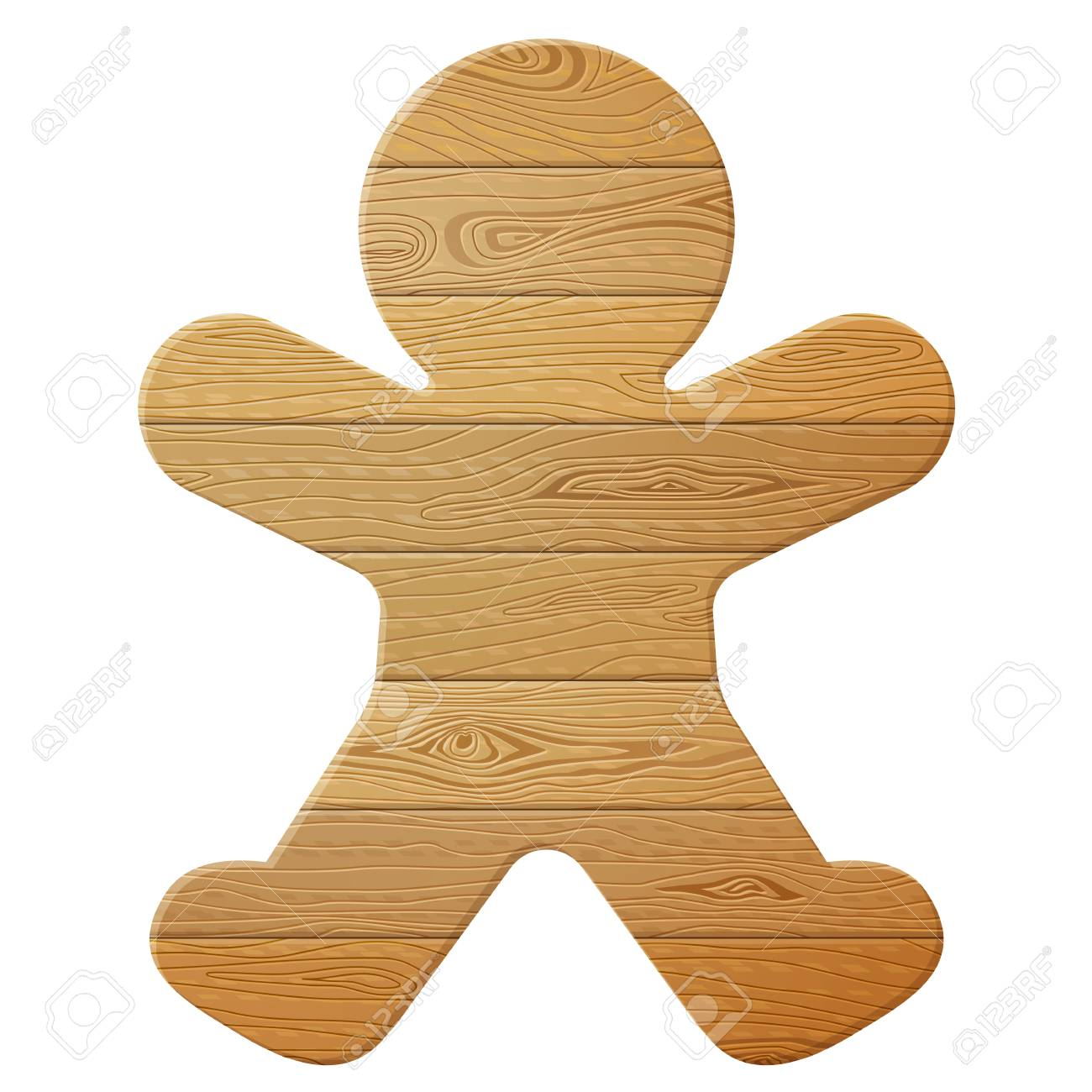 bfecbd1b55634 Gingerbread man of wood isolated on white background. Wooden planks in shape  of christmas cookie