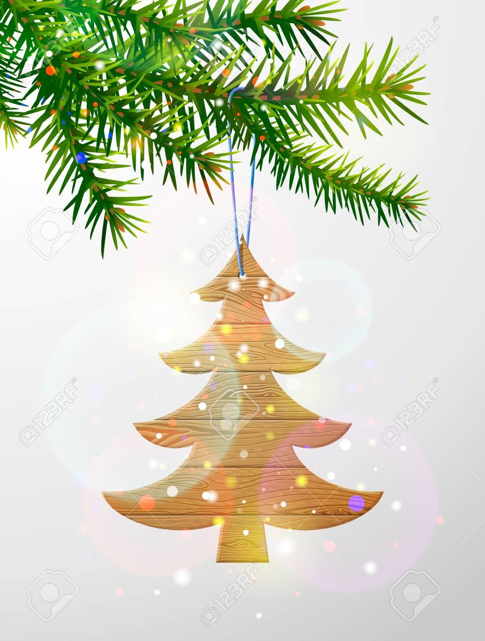 Branche D Arbre Sapin De Noel branche d'arbre de noël avec sapin décoratif en bois. planches de bois en  forme de sapin de noël suspendu à une brindille de pin. image vectorielle