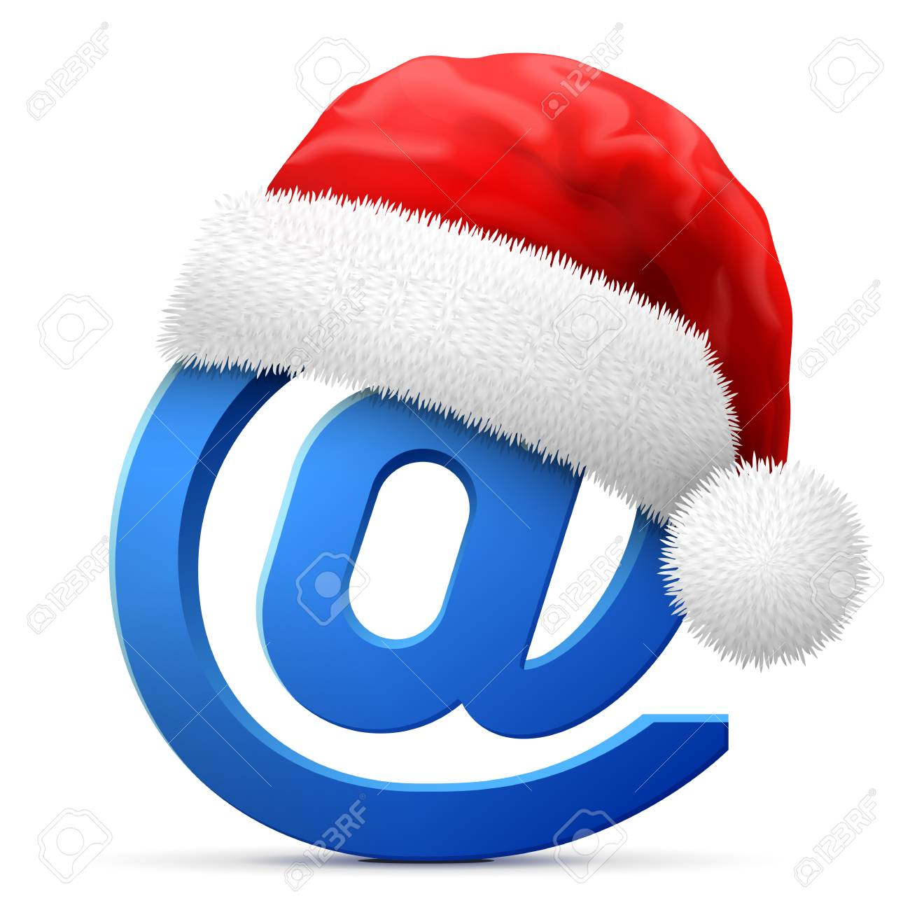 12573fd9 Email symbol in red Santa Claus hat. Christmas hat is put on mail sign.
