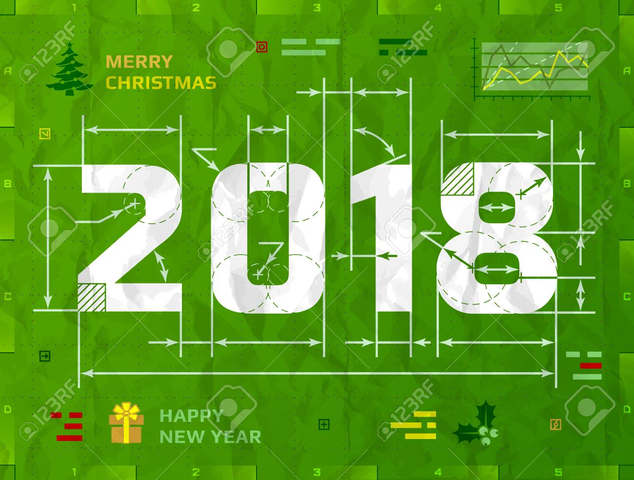 New year 2018 as technical blueprint drawing drafting of 2018 new year 2018 as technical blueprint drawing drafting of 2018 on crumpled paper best malvernweather Image collections