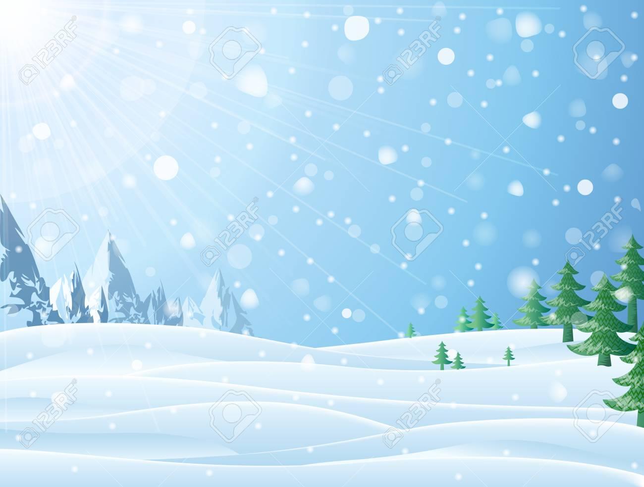 Daytime Snowy Scene With Ridge And Christmas Trees Snowfall