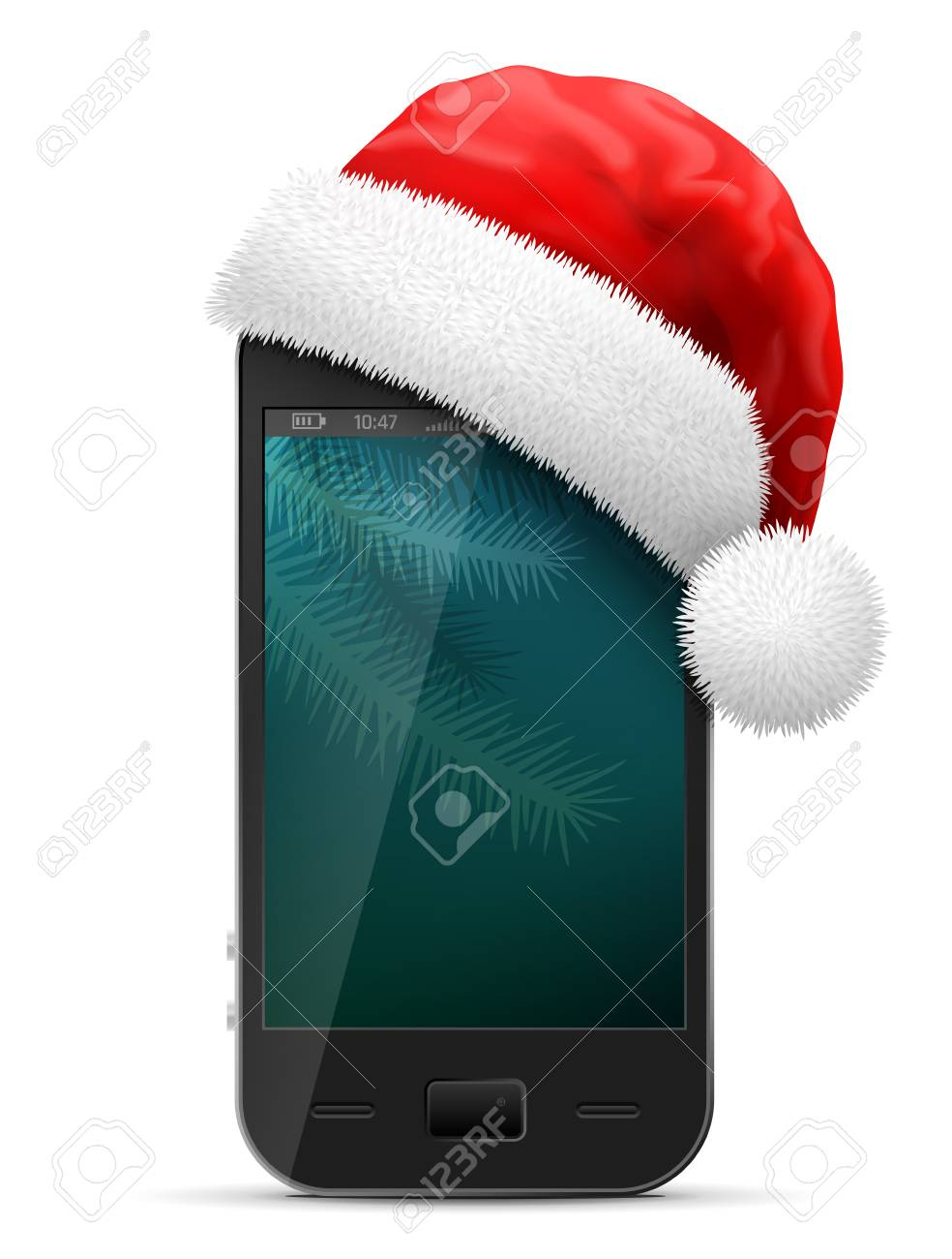 1c349836 Smartphone in red Santa Claus hat. Christmas hat is put on mobile phone.  Best