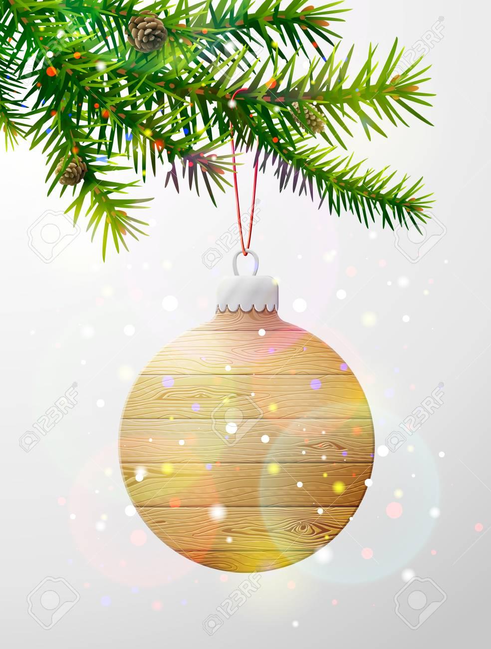Sapin De Noel Suspendu En Bois branche d'arbre de noël avec boule décorative de bois. boule de sapin de  noël en bois suspendu à une brindille de pin. image vectorielle pour noël,