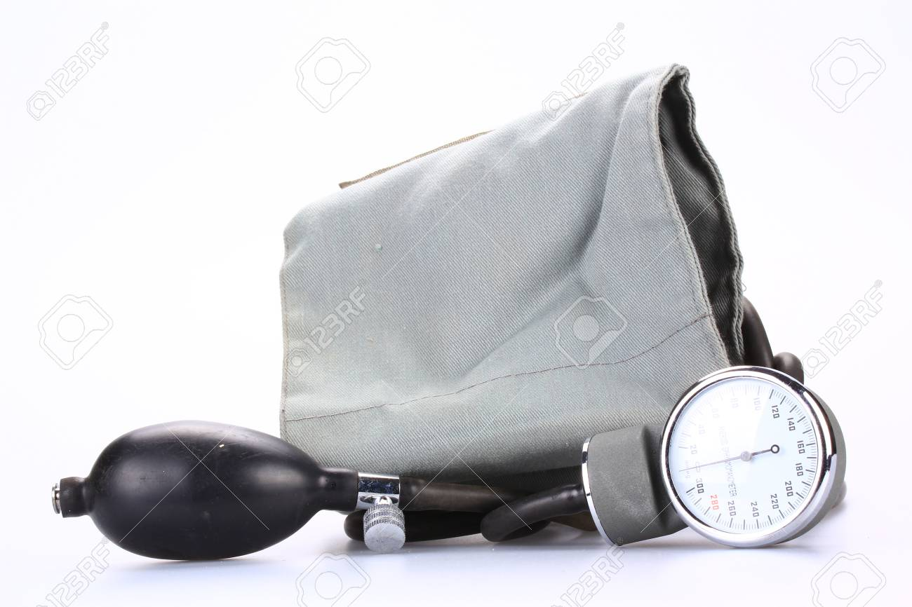 Medical sphygmomanometer on a white background Stock Photo - 22396335