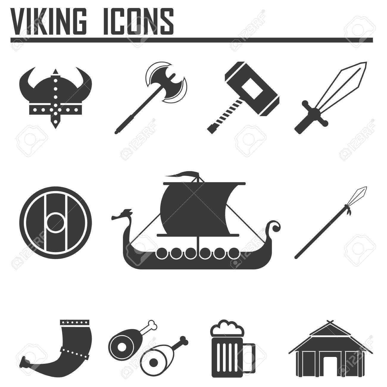 Vikings And Scandinavian Items The Food Weapons Flat Icon Set Royalty Free Cliparts Vectors And Stock Illustration Image 35793331