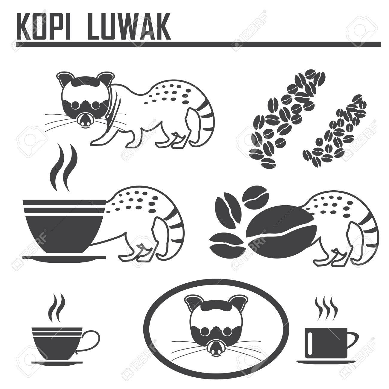 luwak kopi coffee icon set royalty free cliparts vectors and stock illustration image 48760942 luwak kopi coffee icon set