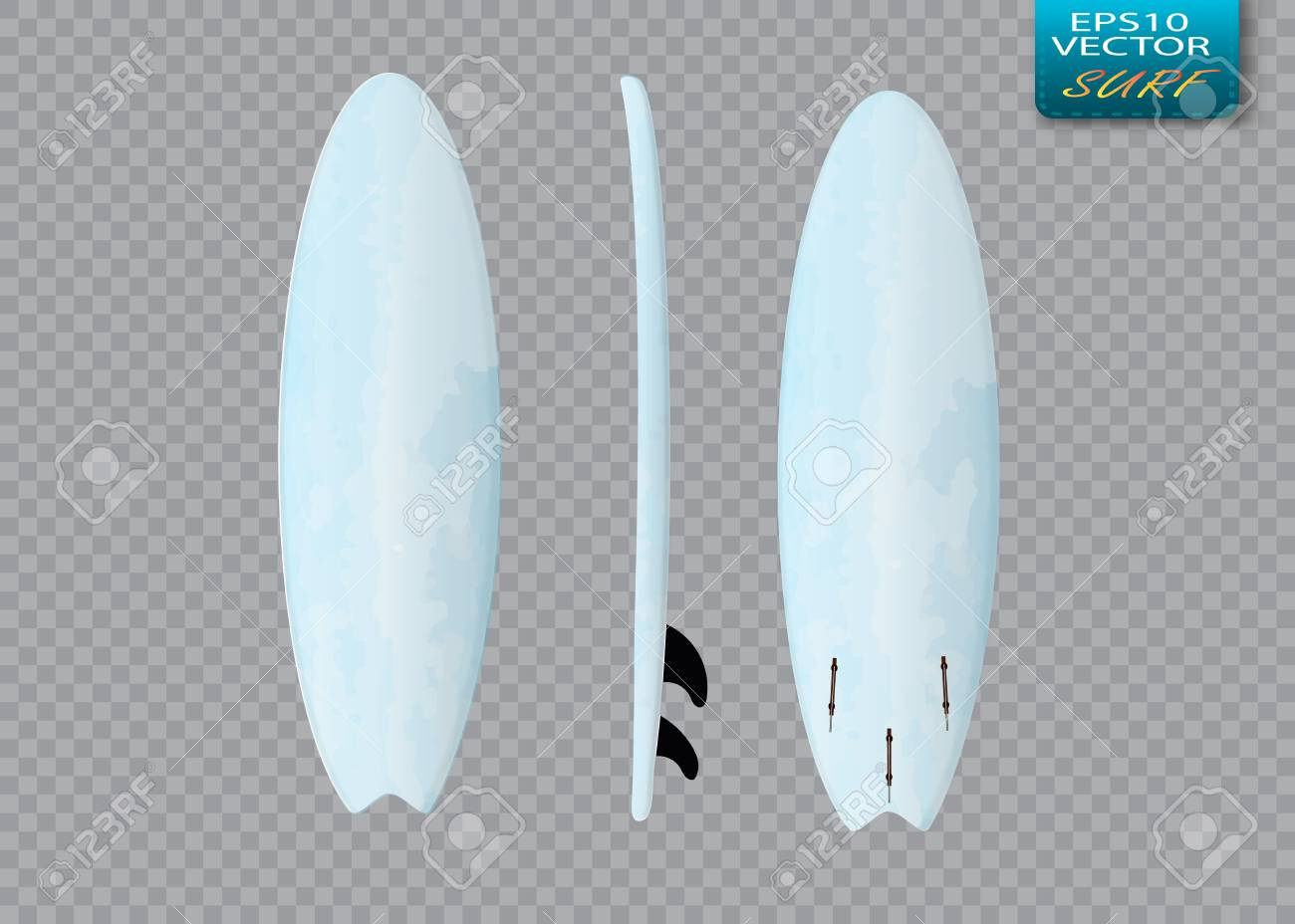 White Vector Surfing Board Template Longboard Royalty Free Cliparts