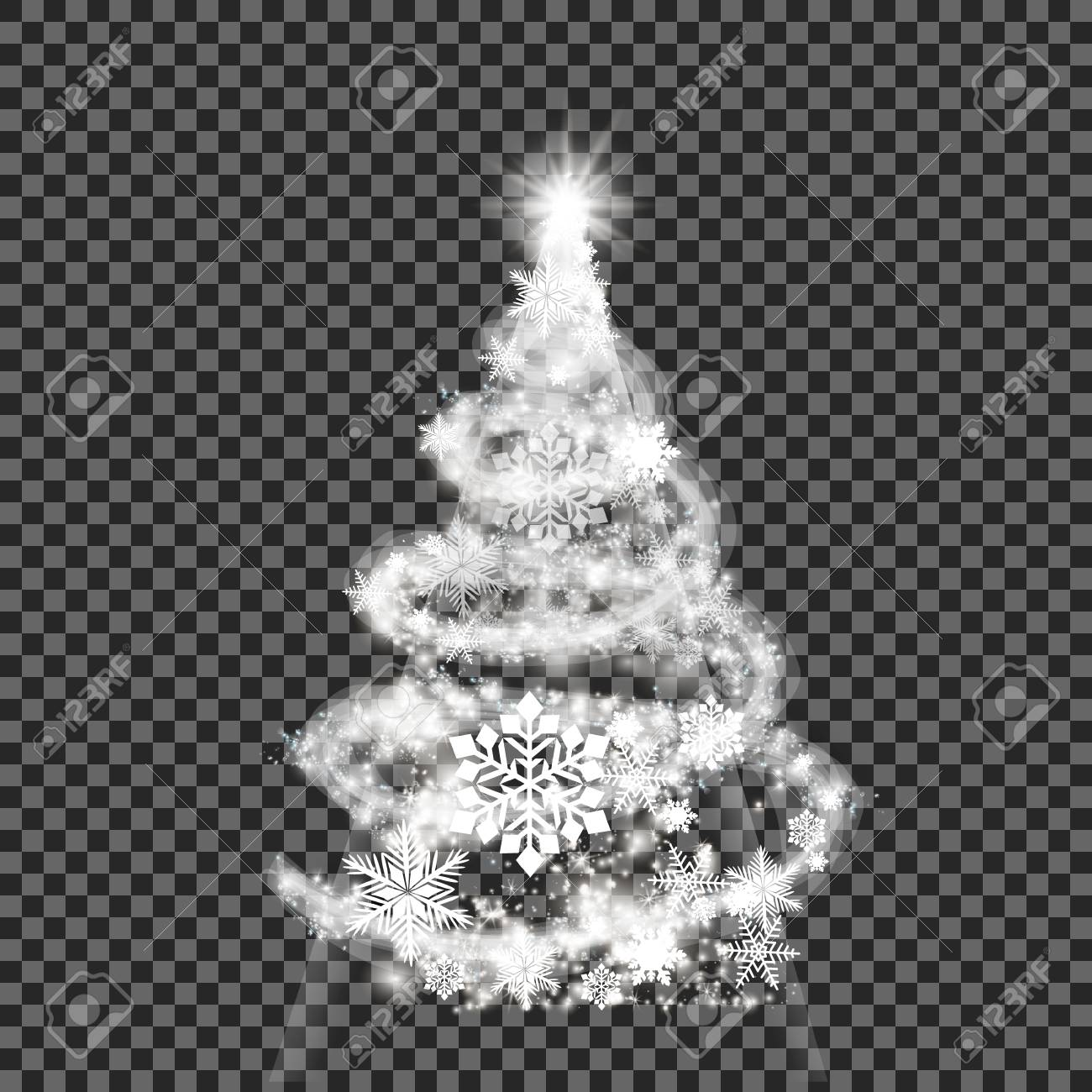 Silver Christmas Tree On Transparent Background Royalty Free Cliparts Vectors And Stock Illustration Image 84589295