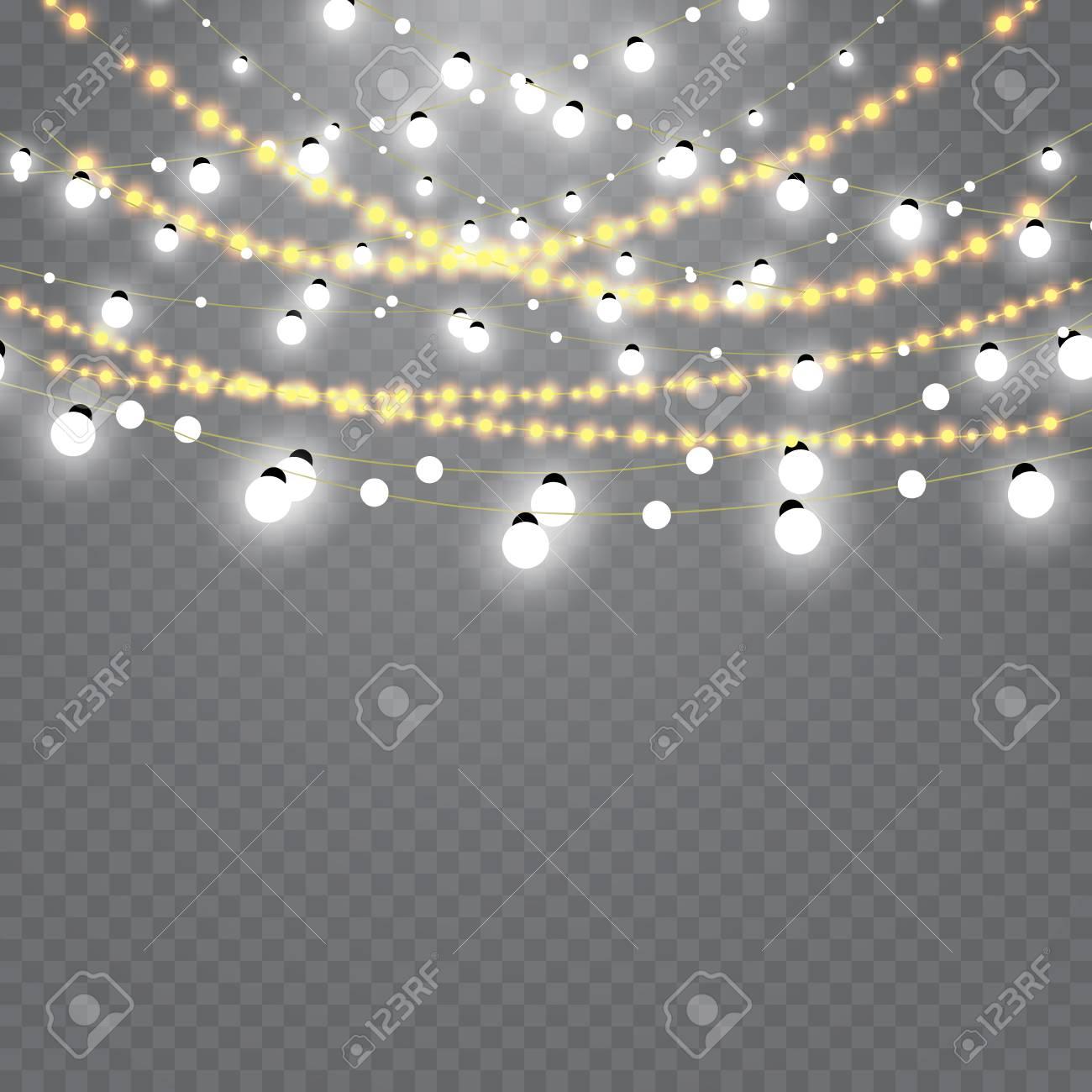 Christmas Lights Transparent Background.Christmas Lights Isolated On Transparent Background Set Of Golden