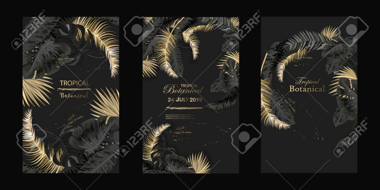 Vector Vertical Wedding Invitation Cards Set With Black And Gold