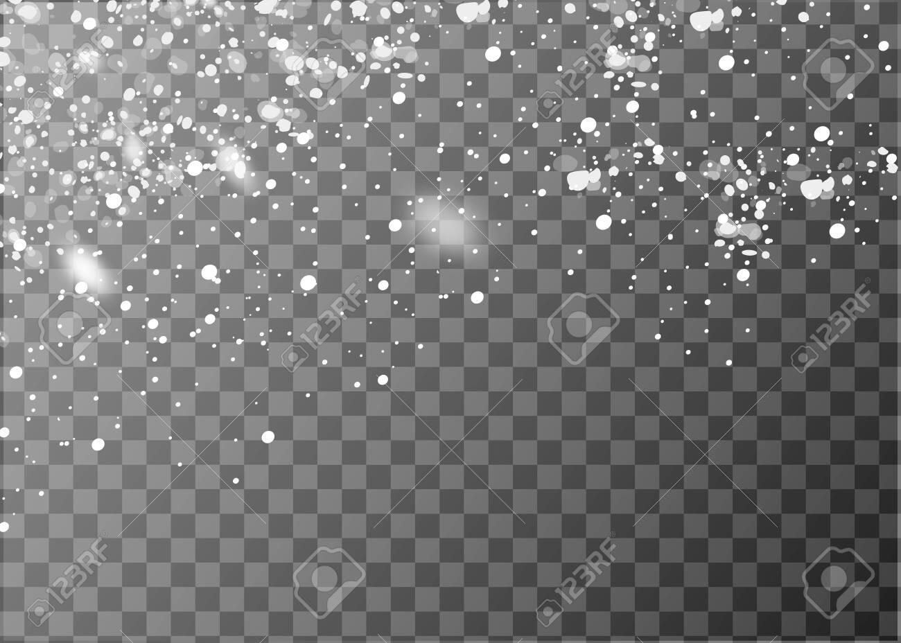 Realistic falling snowflakes. Isolated on transparent background. Vector illustration - 130710546