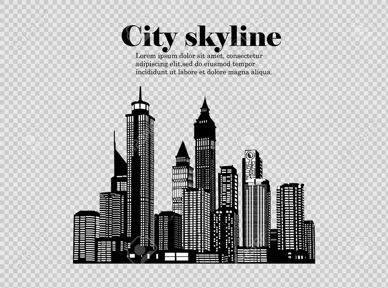 The silhouette of the city in a flat style. Modern urban landscape. - 169116548