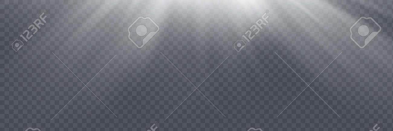 Vector spotlight. Light effect. Horizontal stellar rays and - 169116551