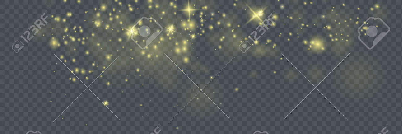 The dust sparks and golden stars shine with special light. Vector sparkles on a transparent background. Christmas light effect. Sparkling magical dust particles. - 169116552