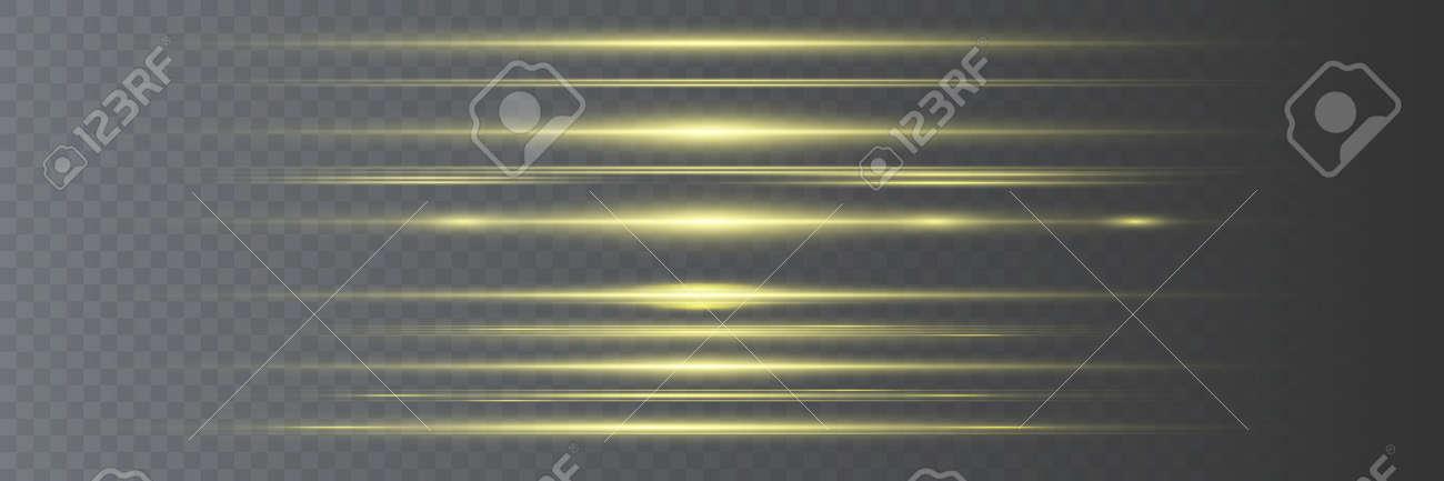 Set of yellow horizontal lens flares. Laser beams, horizontal light beams. Beautiful flashes of light. Glowing stripes on a dark background. - 169116575