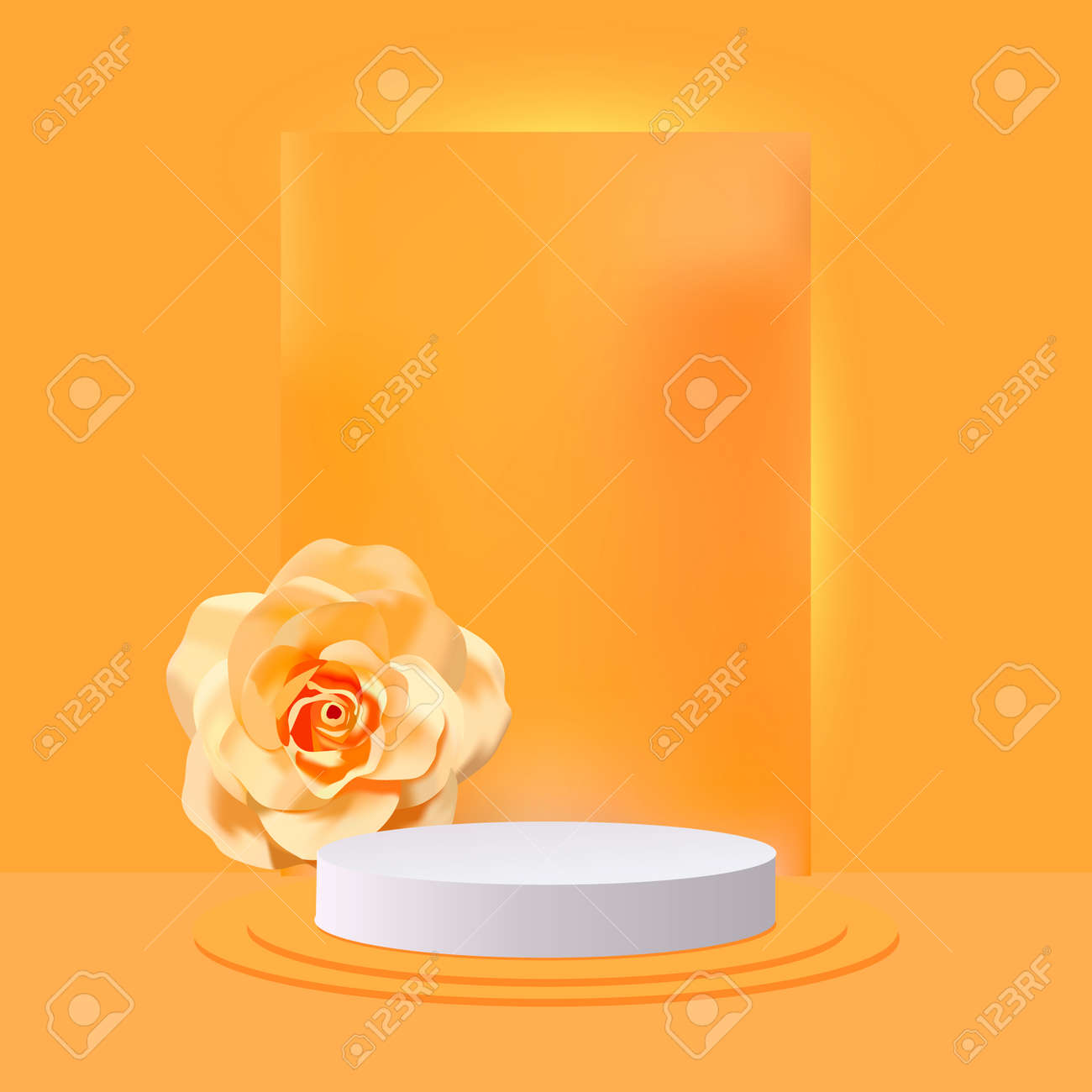 3d abstract design stage with white podium and realistic rose - 169711904
