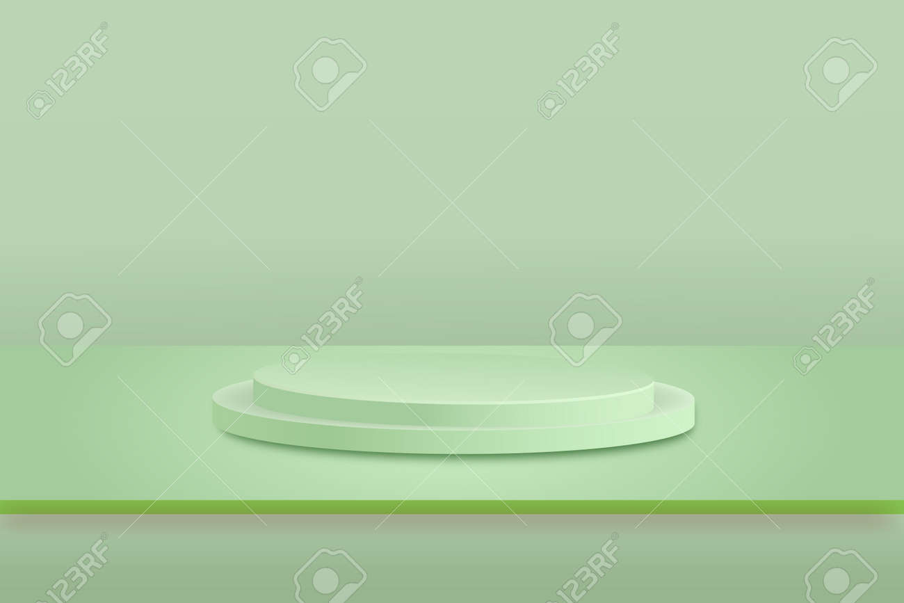 Stage background vector 3d green rendering with podium and minimal green scene, minimal abstract background 3d rendering geometric shape green pastel color. - 169711918