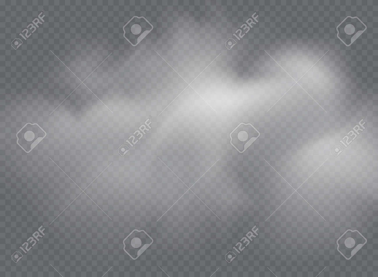 Fog or smoke isolated transparent special effect. White vector cloudiness, mist or smog background - 169711991