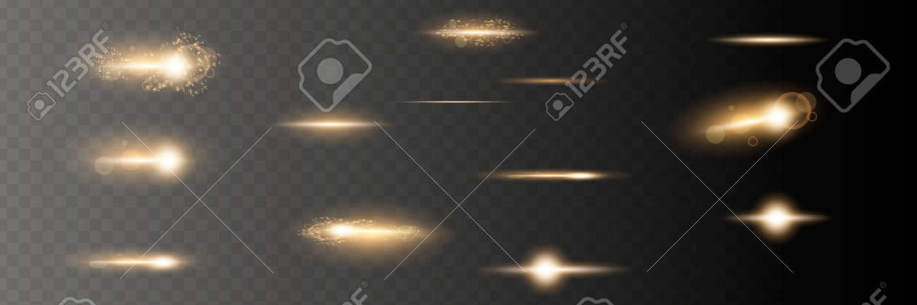Set. Shining star, the sun particles and sparks with a highlight effect, golden bokeh lights glitter and sequins. On a dark background transparent. - 169712007
