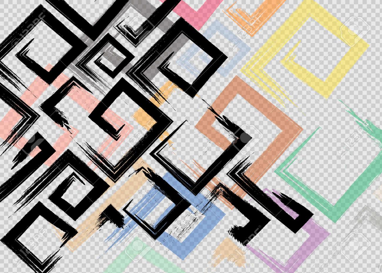 Cute vector geometric seamless pattern. Brush strokes, arrows. Hand drawn grunge texture - 169712011