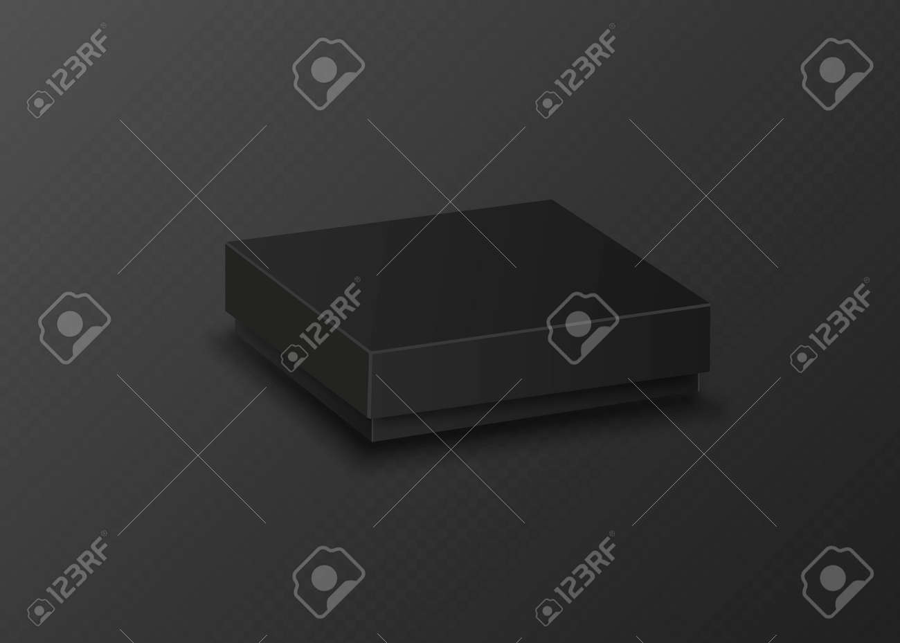 Black empty box on black background. Top view. Template for your presentation design, banner, - 169712006