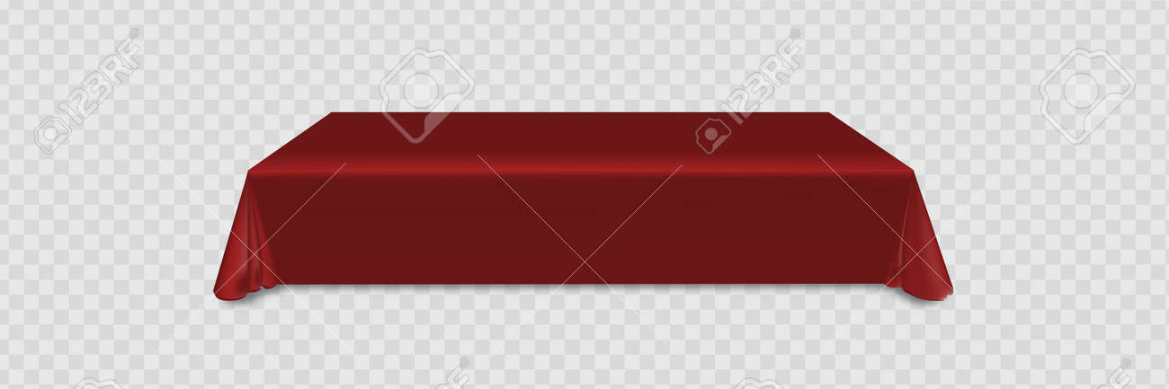 red tablecloth on table empty mock up. Isolated vector illustrations on a light background. - 170226113