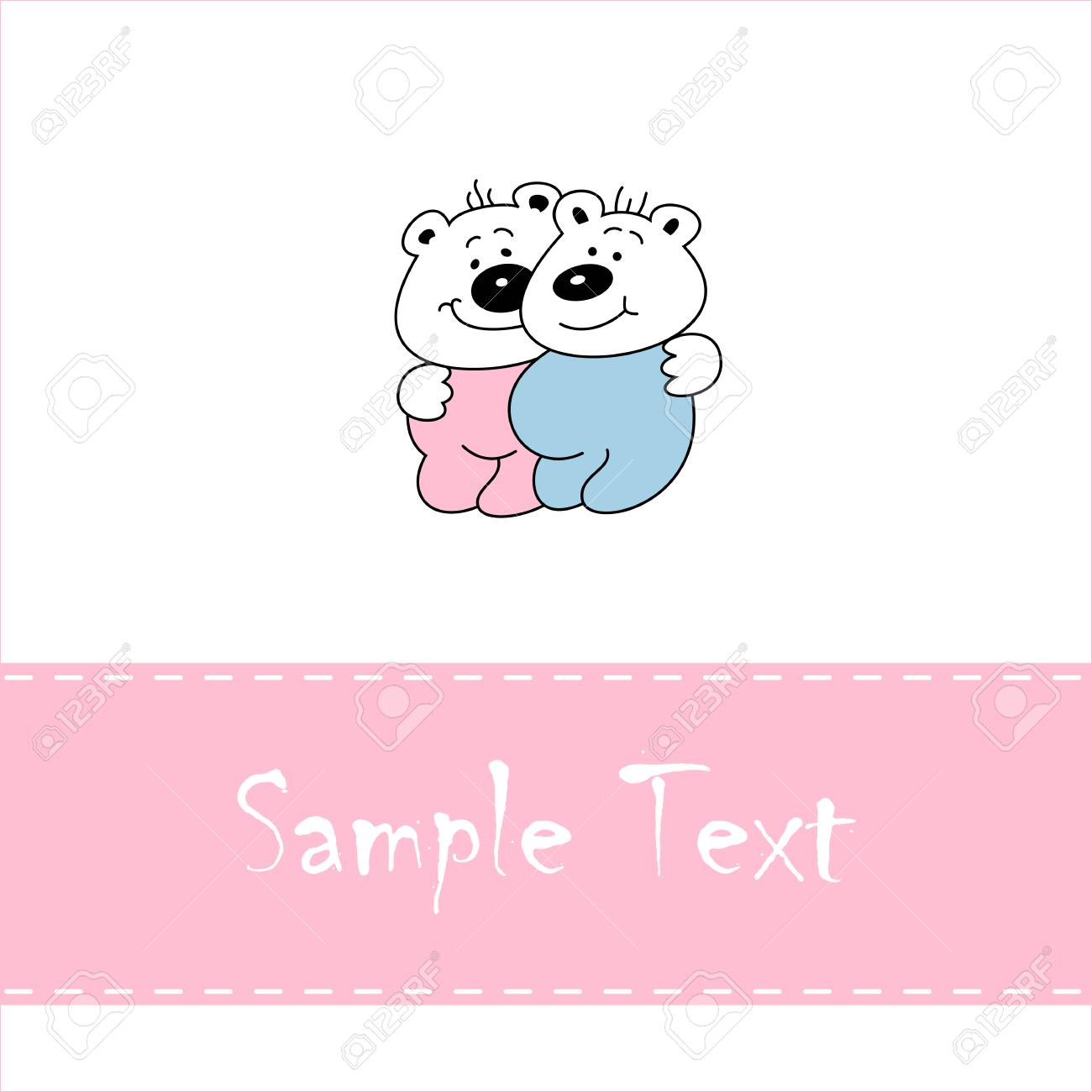 Greeting card with smiling baby bears, vector illustration Stock Vector - 5694565
