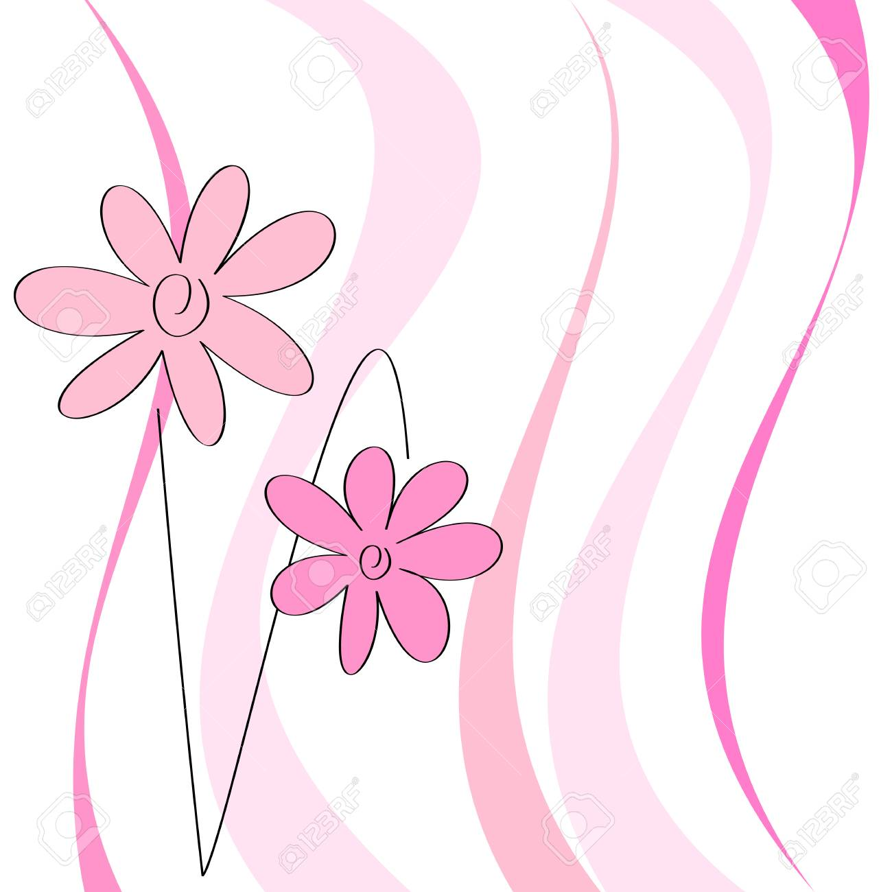 Greeting card with pink flowers, vector illustration Stock Vector - 5779822