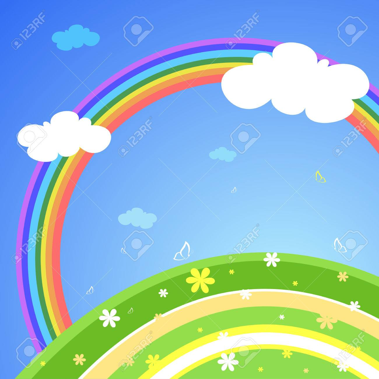 Abstract lanscape with rainbow, vector illustration Stock Vector - 5779826