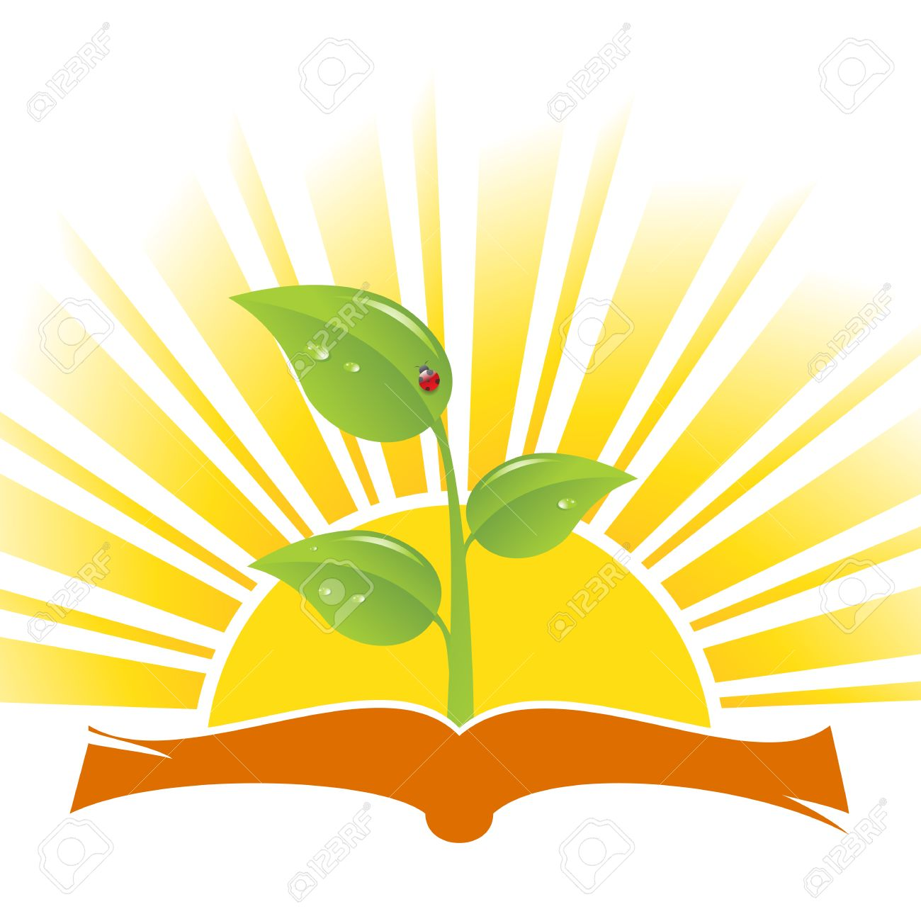 Book with plant and ladybird on sunrise background, vector illustration Stock Vector - 6010353