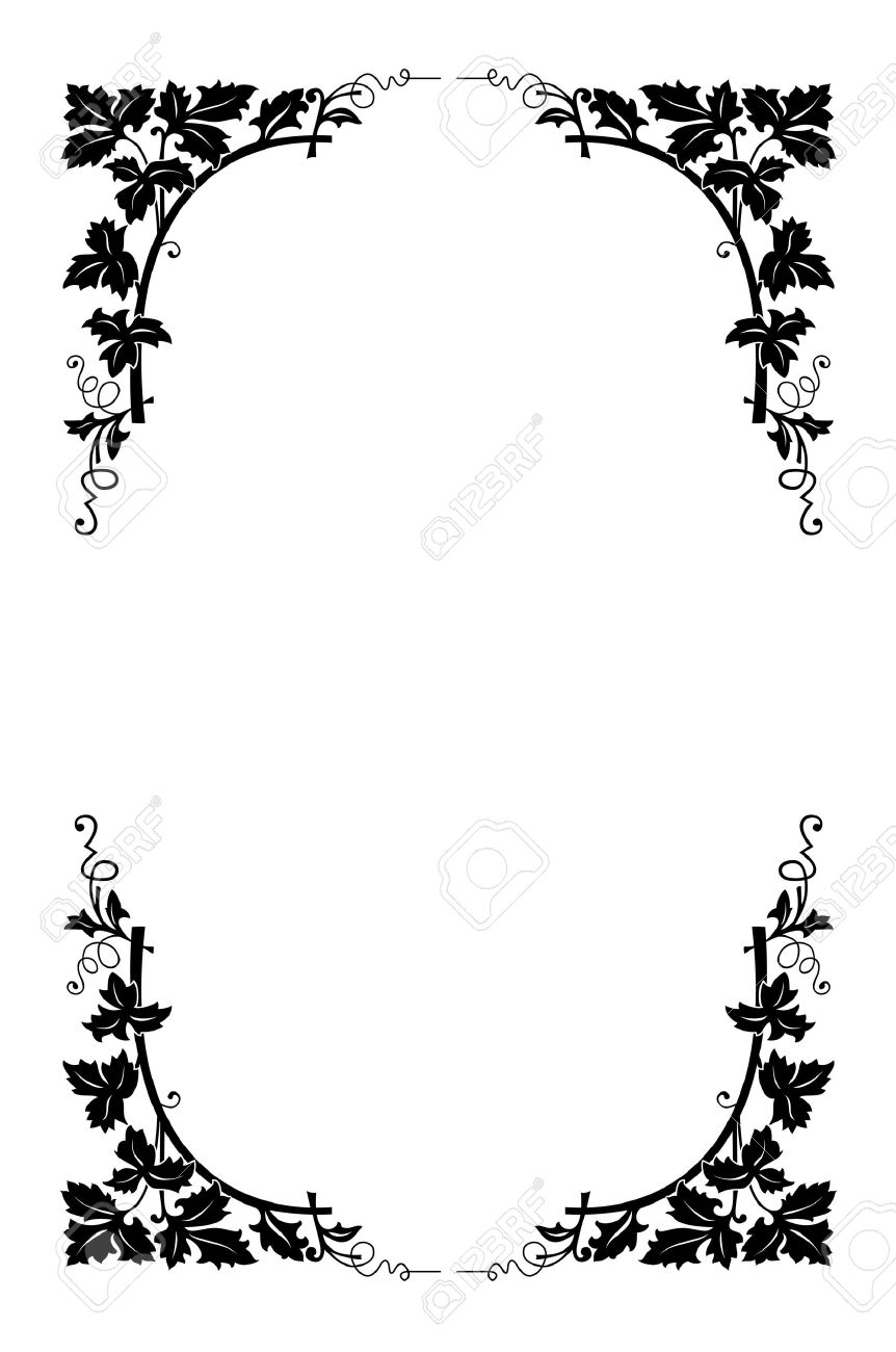 vector floral border black and white easy to recolored royalty free rh 123rf com floral border vector bing floral border vector free