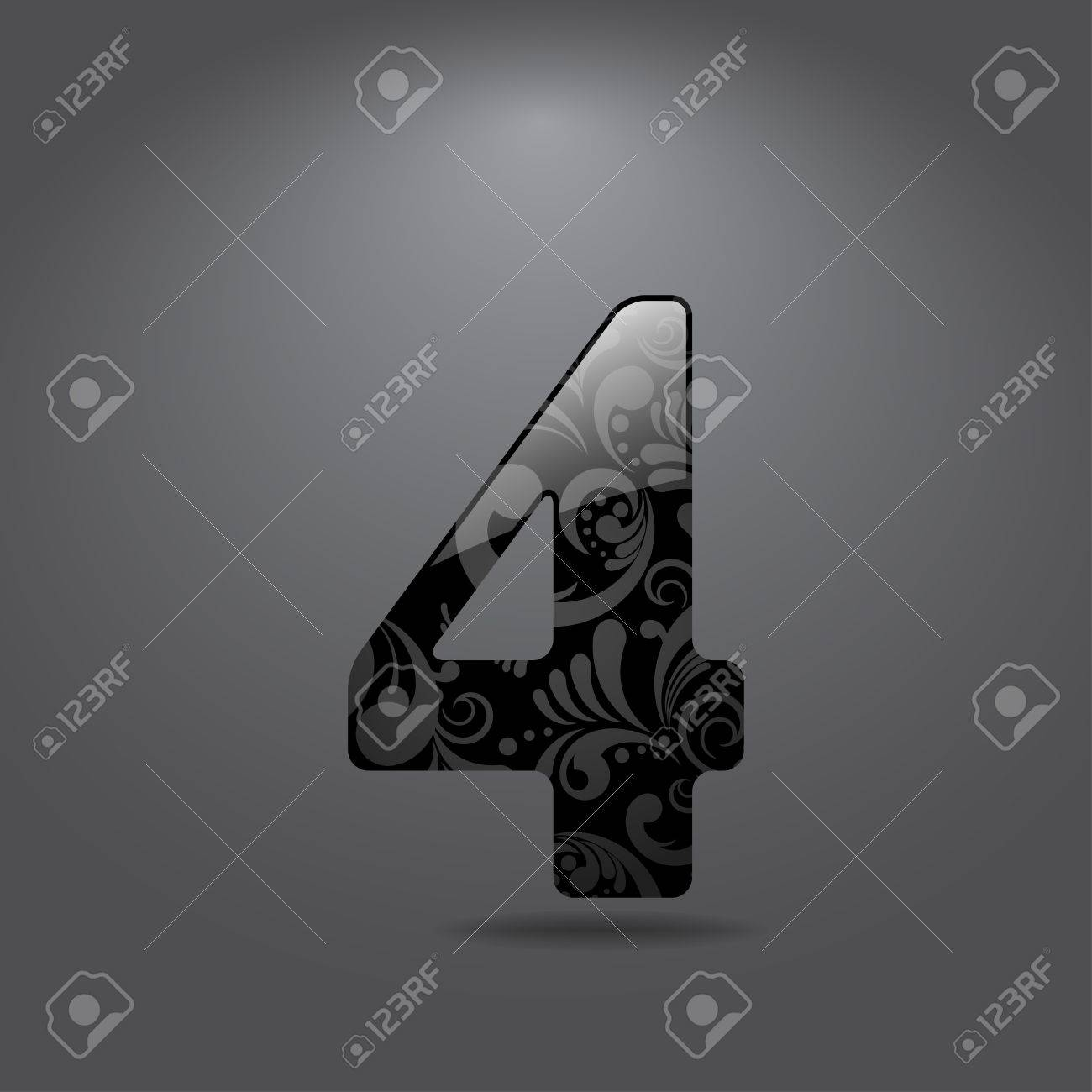 Glossy digit 4 - symbol with floral ornate Stock Vector - 14846756