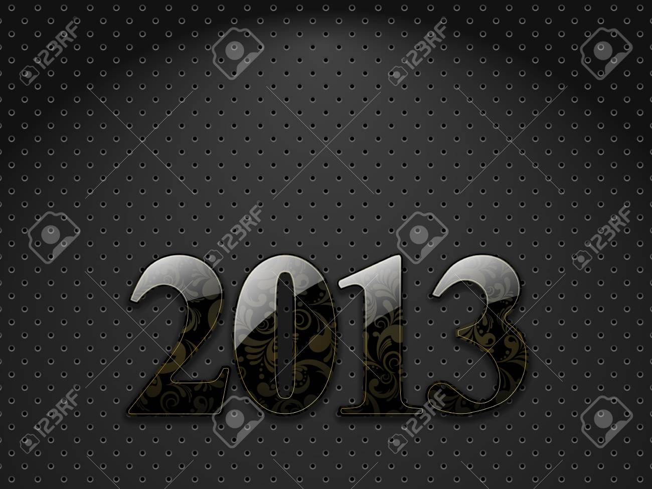 New year 2013, metallic textured background with floral ornate digits Stock Vector - 16334916